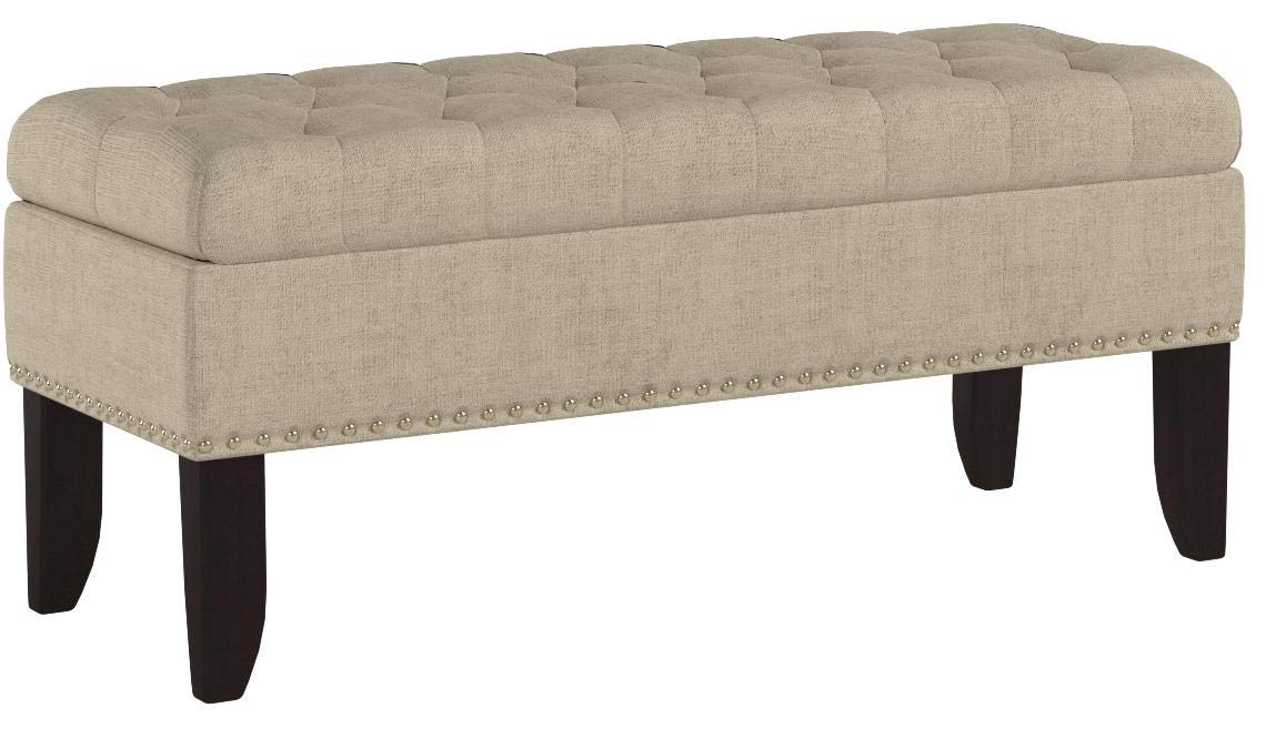 Pulaski Hinged Top Button Tufted Bed Oatmeal Beige, 41.50'' L x 15.75'' D x 18.50'' H Upholstered Storage Bench, by Pulaski