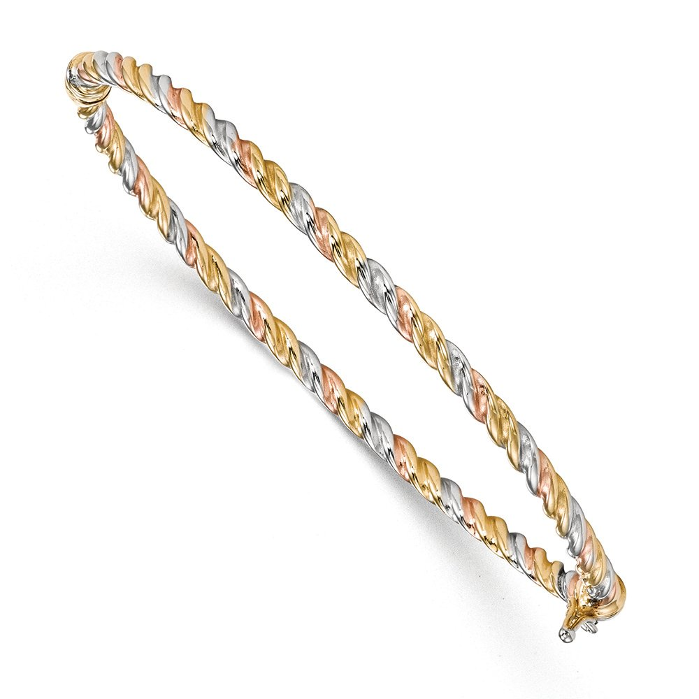3mm 14k Tri-Color Gold Twisted Hinged Bangle Bracelet