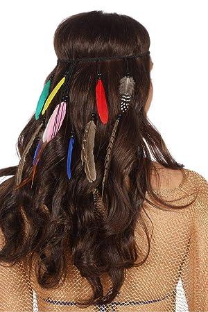 e4a7675900119a shoperama Geflochtenes Stirnband mit Federn und Holz-Perlen Indianerin  Hippie Festival Haarband Kopfschmuck Kostüm-