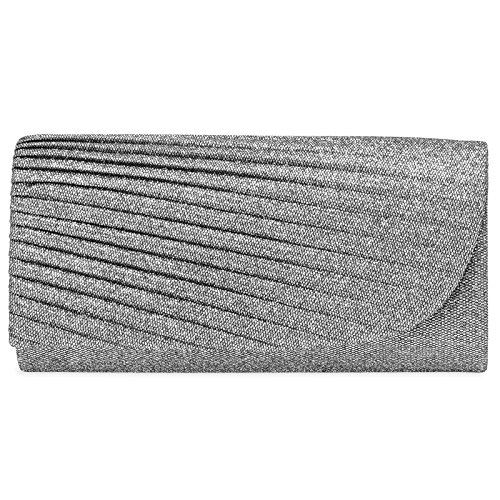 CASPAR TA401 Ladies Glitter Long Clutch/Elegant Evening Bag with Stylish Pleated Design Silver