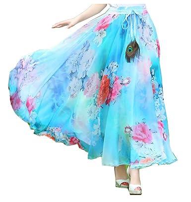 Falda Larga para Falda Swing Falda Mujer Floral De Verano Moda ...