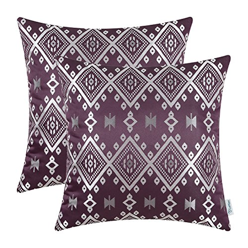 CaliTime Pack of 2 Throw Pillow Covers Cases Couch Sofa Home Decoration Vintage Southwestern Plaid Geometric 18 X 18 inches Aubergine ()