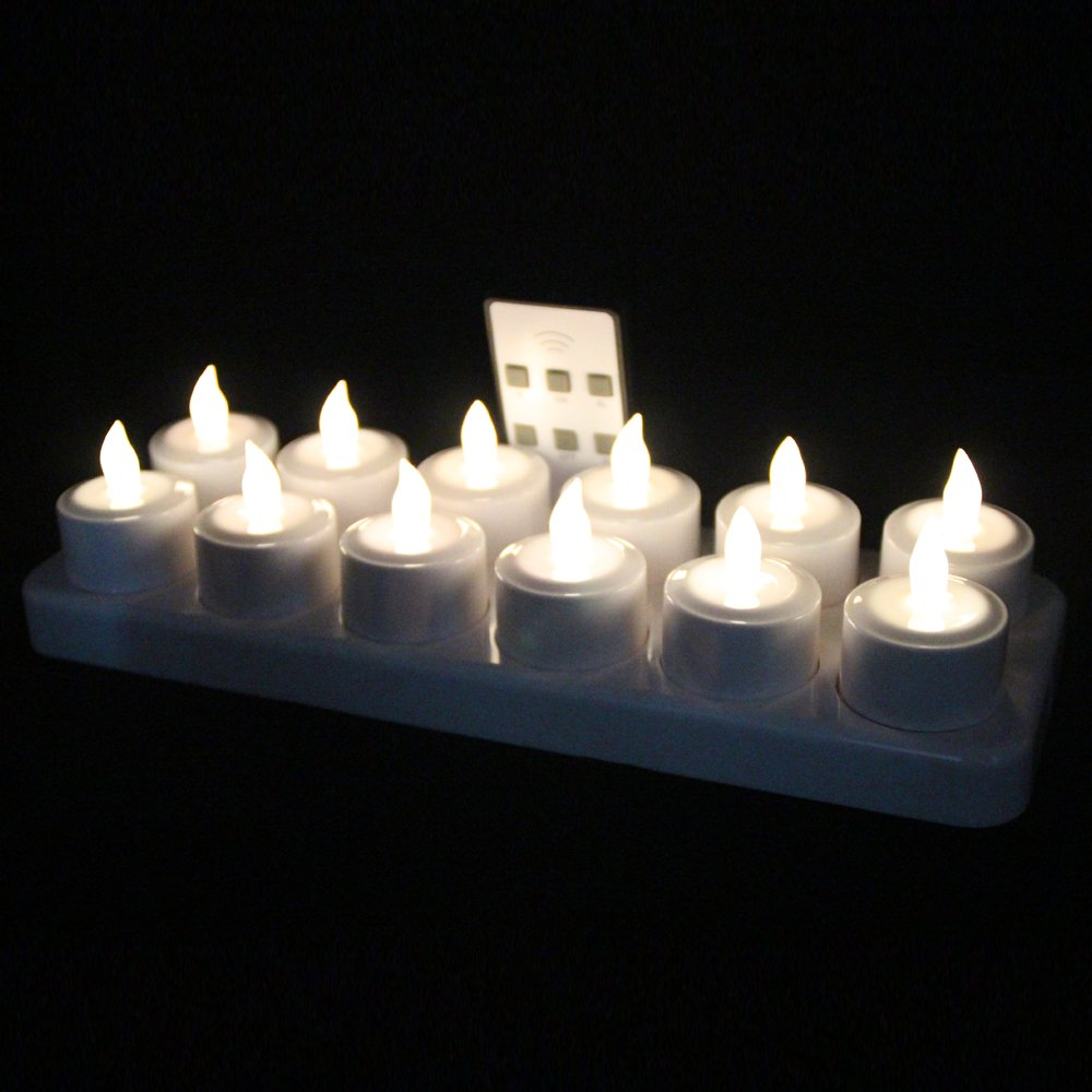 EuroFone LED Rechargeable Candle Flameless Tealight with Remote Control 12pcs/Set (Warm White)