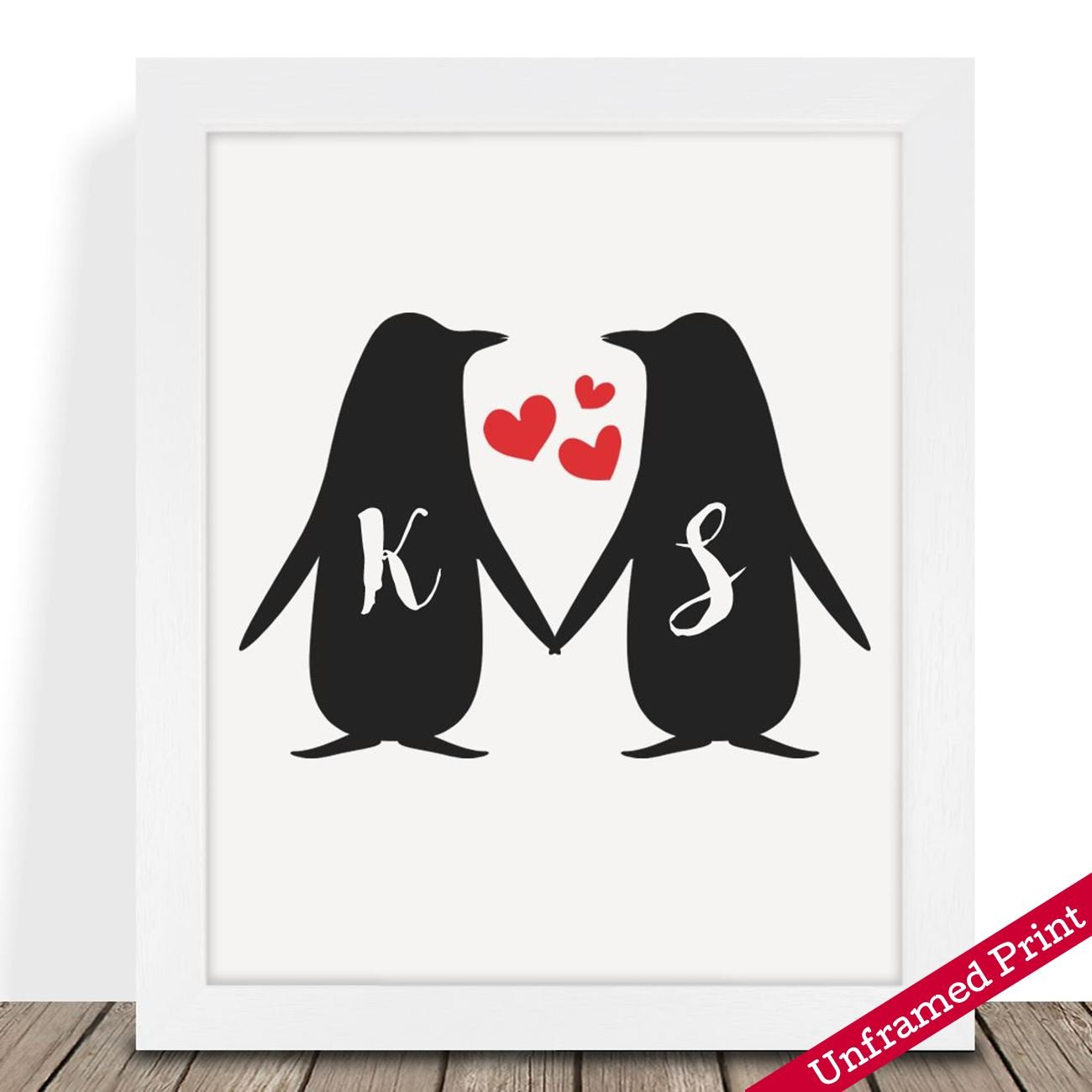 Personalised Presents Gifts For Him Her Husband Wife Couples Boyfriend Girlfriend Wedding Anniversary Valentines Day Christmas Xmas Love Penguins Initials Prints Posters Wall Art Home Decor Superb Printz