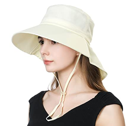 Ladies Japanese Gardening Uv Protection Sun Shade Hat Neck Flap Small Head  Beige White 095d8a17e2