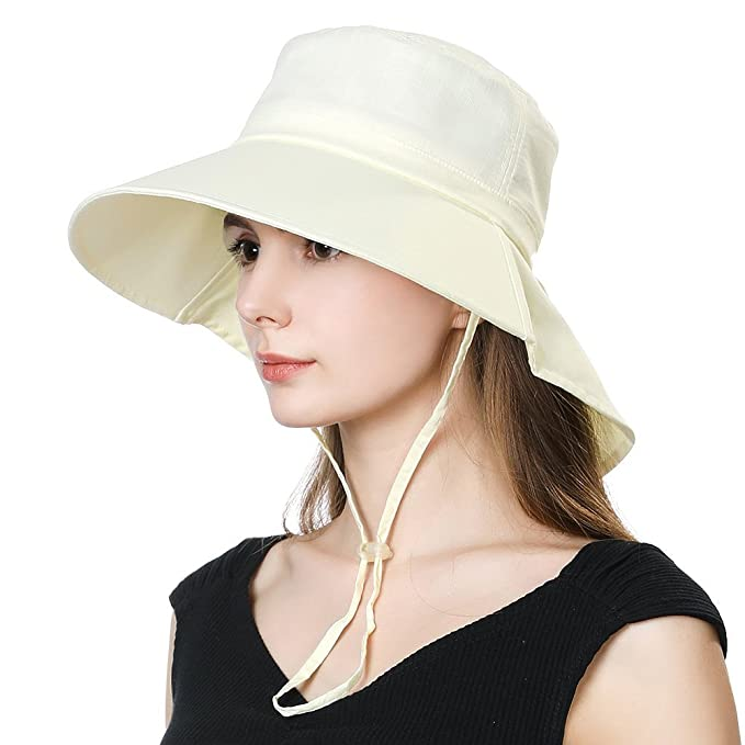 9650e19322c8a Ladies Japanese Gardening Uv Protection Sun Shade Hat Neck Flap Small Head  Beige White