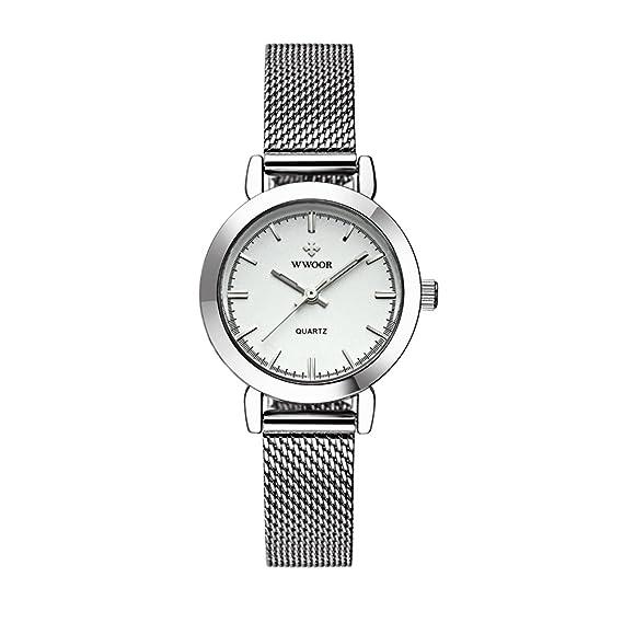 wwoor malla banda relojes Elite Business reloj de pulsera Negro de acero inoxidable de plata para