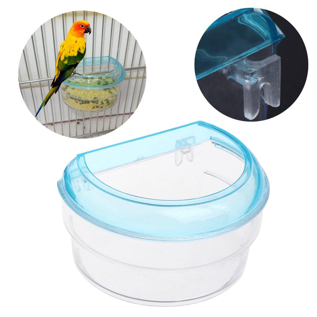 Jiamins Mangeoire à Oiseaux Acrylique Transparent Contenant à Nourriture Gamelle en Demi-Cercle à Suspendre en Cage pour Perroquet