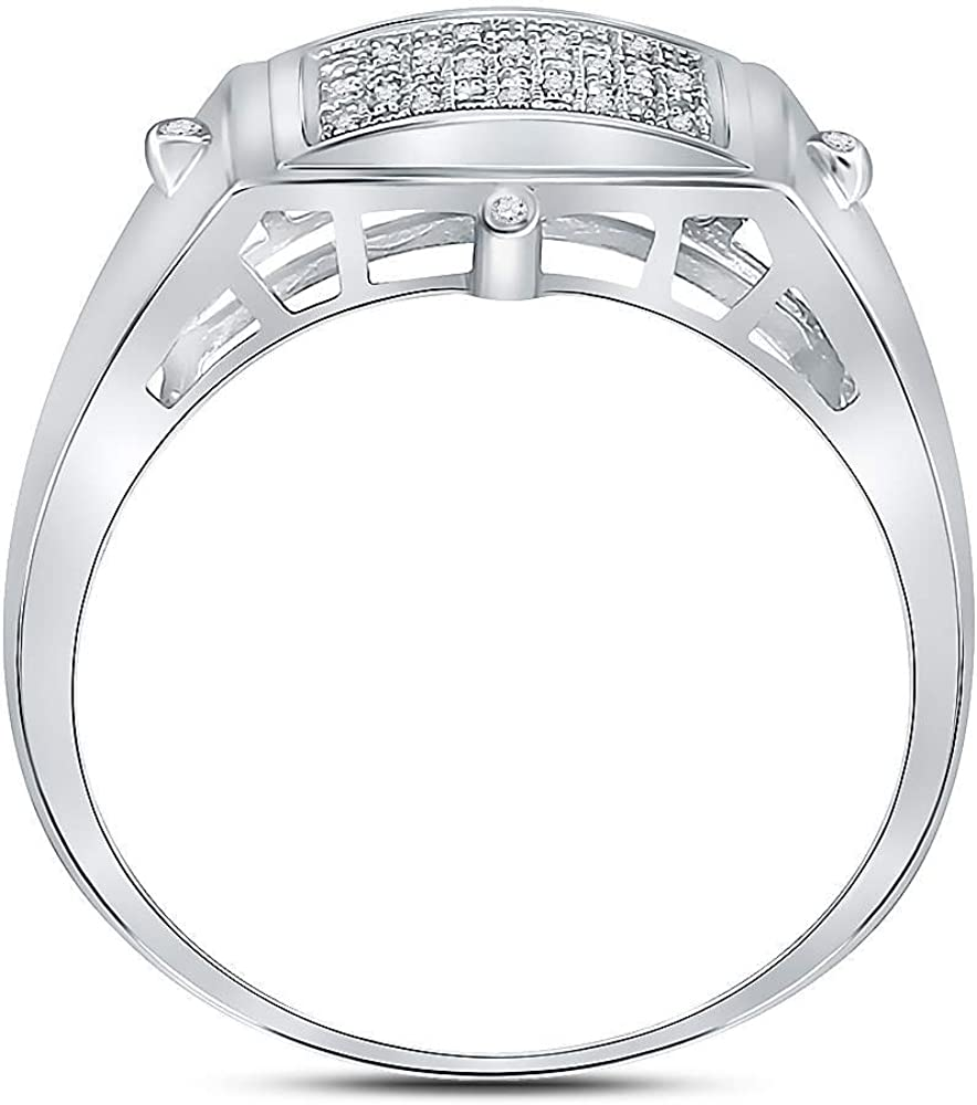 Sterling Silver Mens Round Diamond Square Cluster Ring 0.15 Cttw