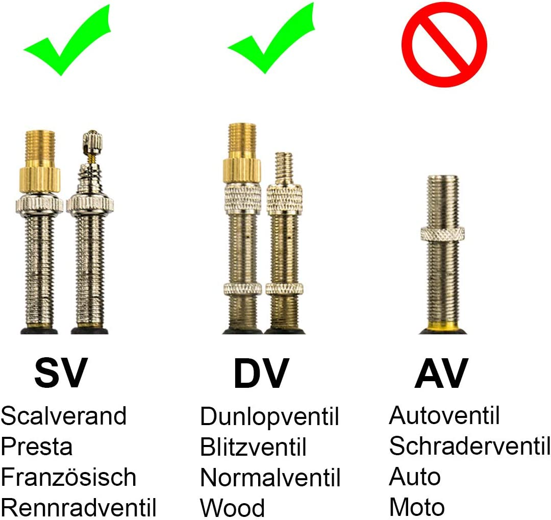 10 Fahrrad Color Ventil-Adapter DV SV Französisches auf Dunlop Autoventil AV KFZ