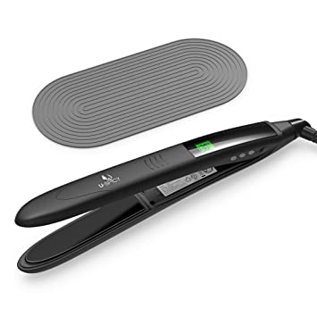 USpicy Hair Straightener Hair Flat Iron with Heat Resistant Silicone Pad Curved Design and  sc 1 st  Amazon.com & Amazon.com : USpicy Hair Straightener Hair Flat Iron with Heat ...