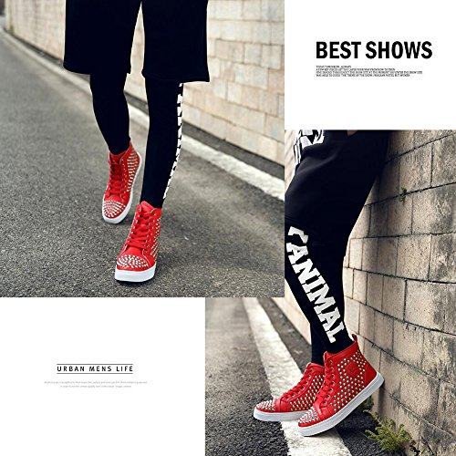 Kivors Casual Mens Rivet High-Top Hip-Hop Fashion Shoes Lace-up Anti-Skid Sneaker Red utZprar52