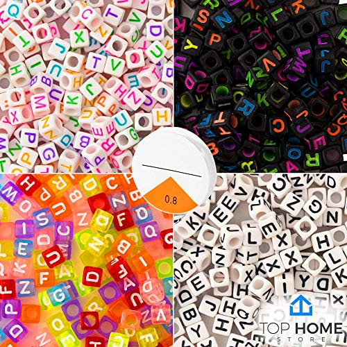 "Top Home Store 800 Pieces 4 Color Letter Beads Acrylic ""A – Z"" Alphabets for DIY Jewelry Making, Bracelets, Kids, Necklaces & Key Chains with Elastic Cord (6mm Cube)"