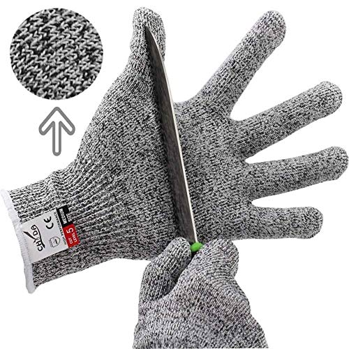Cut Resistant Gloves - Anti Cutting High Performance Level 5 Protection Food Grade Certified Kitchen and Work Safety Lightweight Breathable Size Medium