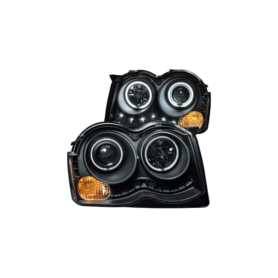Anzo USA 111231 Black Halo Projector Headlight with Clear Lens and Amber Reflector for Jeep Grand Cherokee