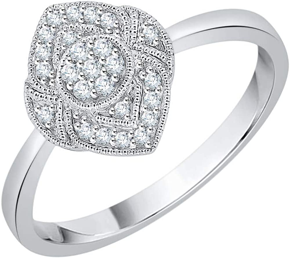 KATARINA Prong Set Diamond Cluster Fashion Ring in Sterling Silver 1//8 cttw, G-H, I2-I3