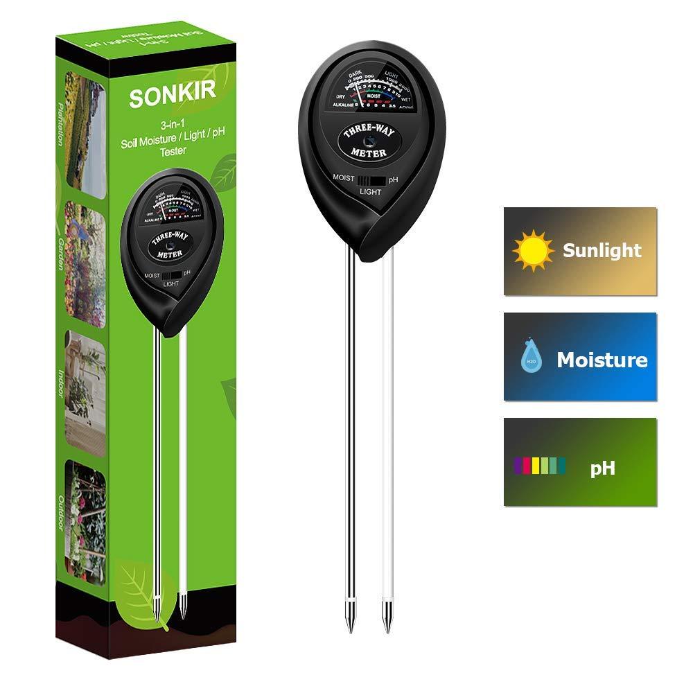 Sonkir Soil pH Tester MS03 3 in 1 Soil Moisture Light pH Tester Gardening Tool Kits for Plant Care Great for Garden Lawn Farm Indoor Outdoor Use Black