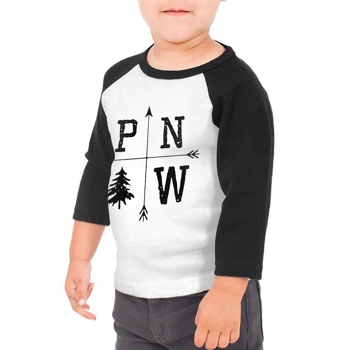 Pacific North West Unisex Toddler Baseball Jersey Contrast 3//4 Sleeves Tee