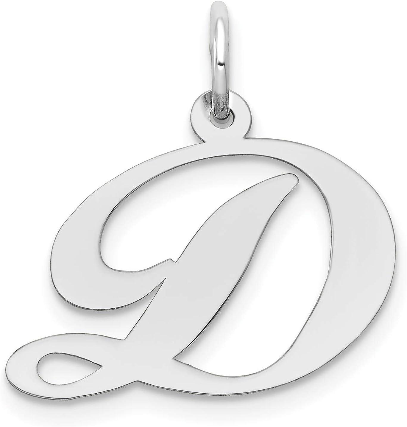 925 Sterling Silver Polished Medium Fancy Script Initial L Charm Pendant
