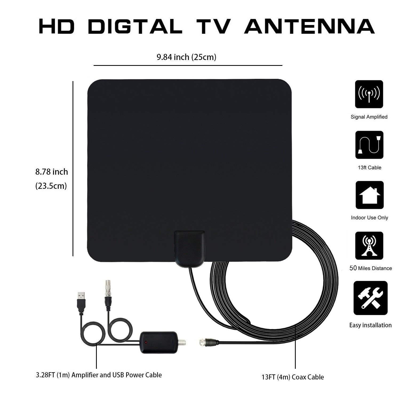 ... Mayor Rango de Recepción de 60 Millas/96 KM, Antena HDTV Digital con Amplificador de Señal y Amplificador Avanzado y Cable Coaxial de 16FT: ...