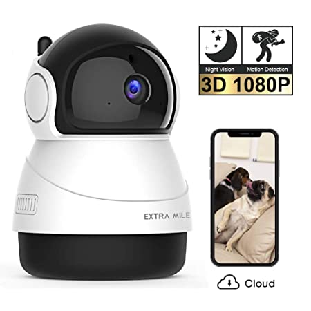Extra Mile Security Camera 1080P FHD Night Vision Indoor Wireless WiFi IP Camera with Motion Detection Home Surveillance System with 2-Way Audio for Baby Pet Elder with iOS Android