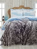 LaModaHome Nature Coverlet, 100% Cotton - Birds on Tree, Seagulls Fly in Clear Sky, White, Blue - Size (63'' x 92.5'') for Twin Bed