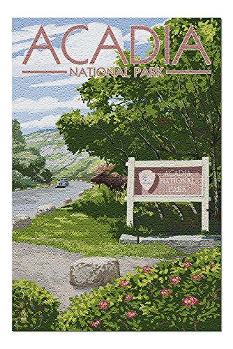 Acadia National Park, Maine - Park Entrance Sign and Moose (20x30 Premium 1000 Piece Jigsaw Puzzle, Made in USA!)