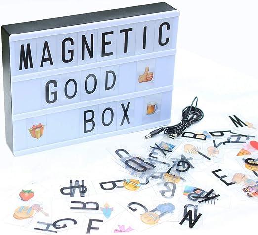 HIGHKAS Letrero Caja luz cinematográfica, Caja luz LED A5, USB o batería LED XmasCinema Marquee Light Box con 90 Letras Intercambiables: Amazon.es: Hogar