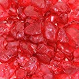Koyal Wholesale Centerpiece Vase Filler Decorative Crushed Glass, 4.5-Pound, Red