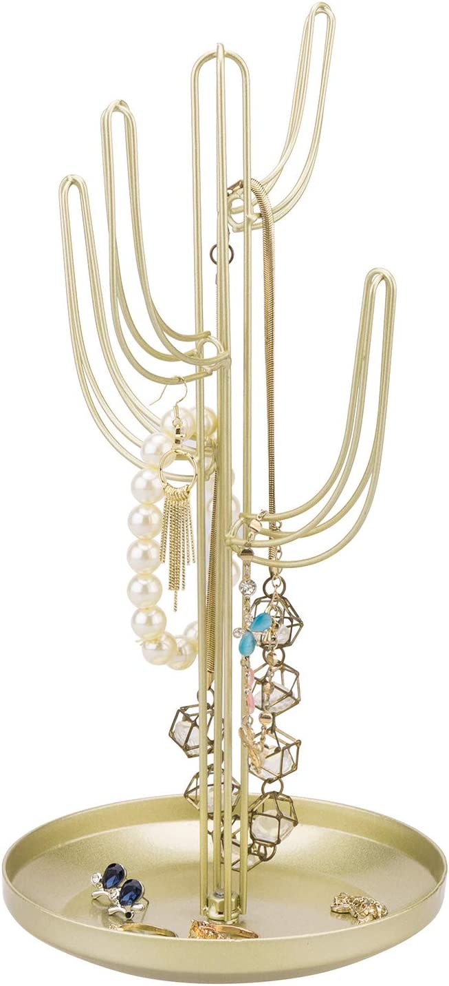 MyGift Gold-Tone Metal Cactus-Shaped Jewelry Tower