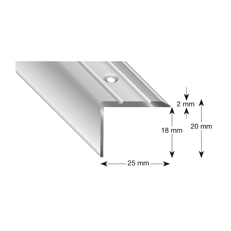 perforadas k/ügele Escaleras /ángulo de aluminio anodizado en plata 105/a S 100 1/pieza 25//20//1000/mm