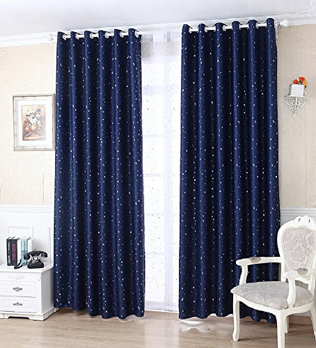 TIYANA 63 Inch Length Window Curtain Panels for Kids Bedroom Metal Grommet Top Silver Stars Printed Pure Color Cloth Curtain Shading Curtain for Living Room, 1 Piece Navy Stars Curtain, 39x63 inch