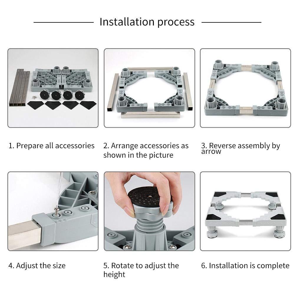 Haodene Base M/óvil de Lavadora Soporta 300kg Universal Soporte Lavadora Secadora de Acero Inoxidable Antideslizante Base Altura Ajustable para Lavadora Refrigerador Secador