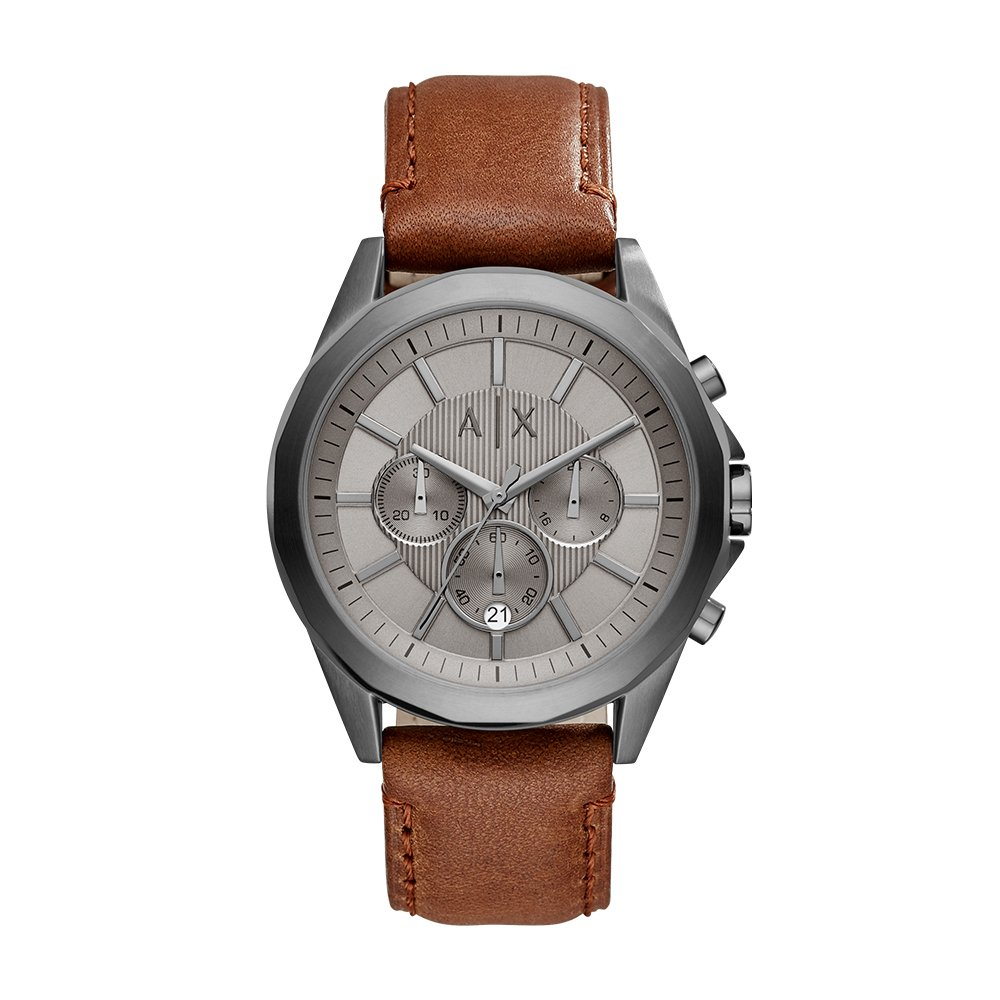 Armani Exchange Men's AX2605 Gunmetal IP Brown Leather Watch