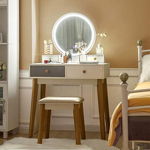 Vanity Set with LED Lights Mirror and Stool, Binrrio 3 Color Touch Screen Dimming Mirror Table, Makeup Dressing Table with 4 Drawers, Bedroom Bathroom Vanity Table Set for Girls Women Type-7