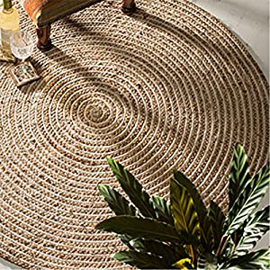 fair trade round jute u0026 cotton 100 braided rug 120cm diameter