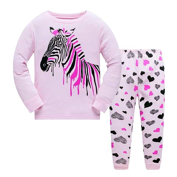 112bd5aea6b5 Backbuy Little Kids Toddler Girls Long Sleeve Cotton Pyjamas Sets 2 ...