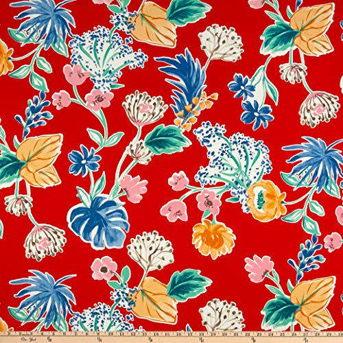 Telio Sofia Rayon Challis Print Floral Red, Fabric by the Yard ()