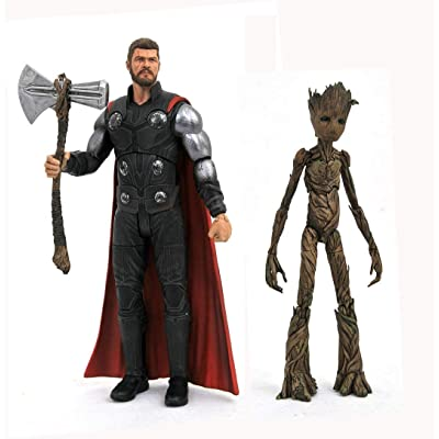 DIAMOND SELECT TOYS Marvel Select: Avengers Infinity War Thor & Groot Action Figure: Toys & Games
