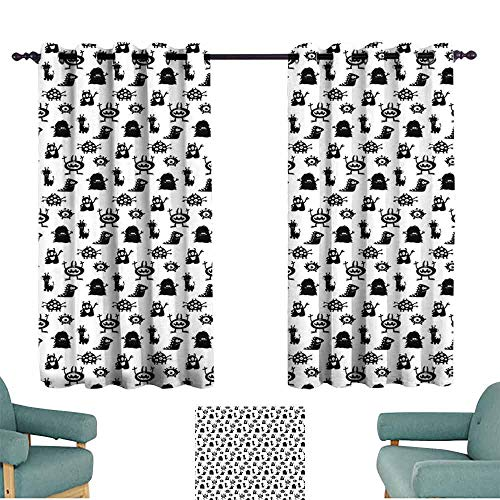Alien Sliding Curtains Monochrome Monster Silhouettes Childish Drawings of Otherworldly Beings Halloween 70%-80% Light Shading, 2 Panels,72