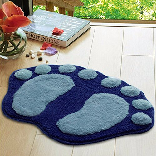 Tuscom Soft Cute Feet Memory Foam Plush Mat Rug |for Living Room, Bedroom Floor Shower Mat|58.5cm x 38.5cm (4 Colors) (Blue) ()