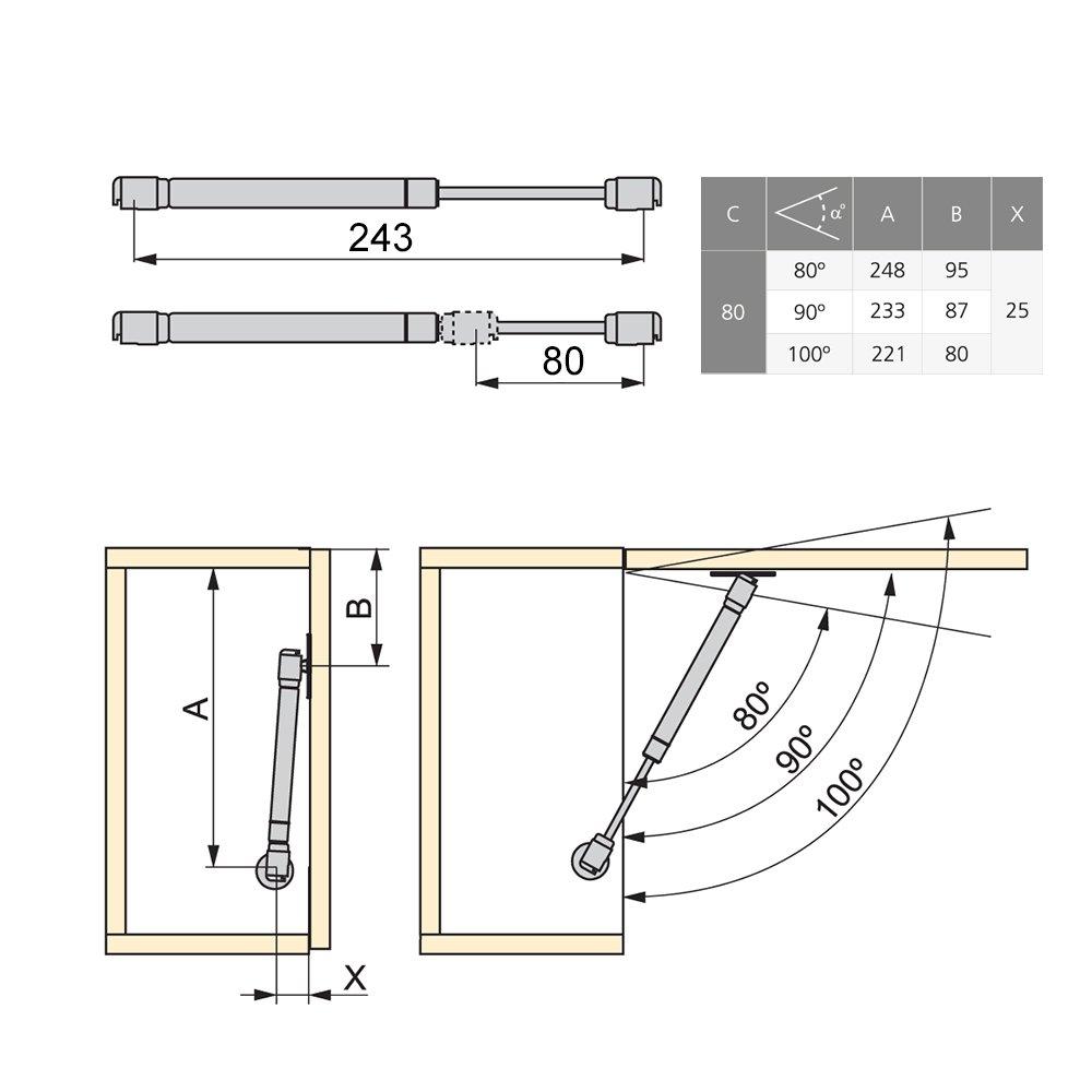 Emuca 1273825 Verin /à Gaz Rabattable avec Fixations 12 kg 80 mm pour Porte de Meuble
