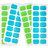 Ice Cube Trays with Lid, LFGB Certified BPA Free Silicone Ice Cube Tray Easy Make Ice Block 4 Pack Ice Cube 56 Ice Blocks(Light Green×2 and Blue×2)