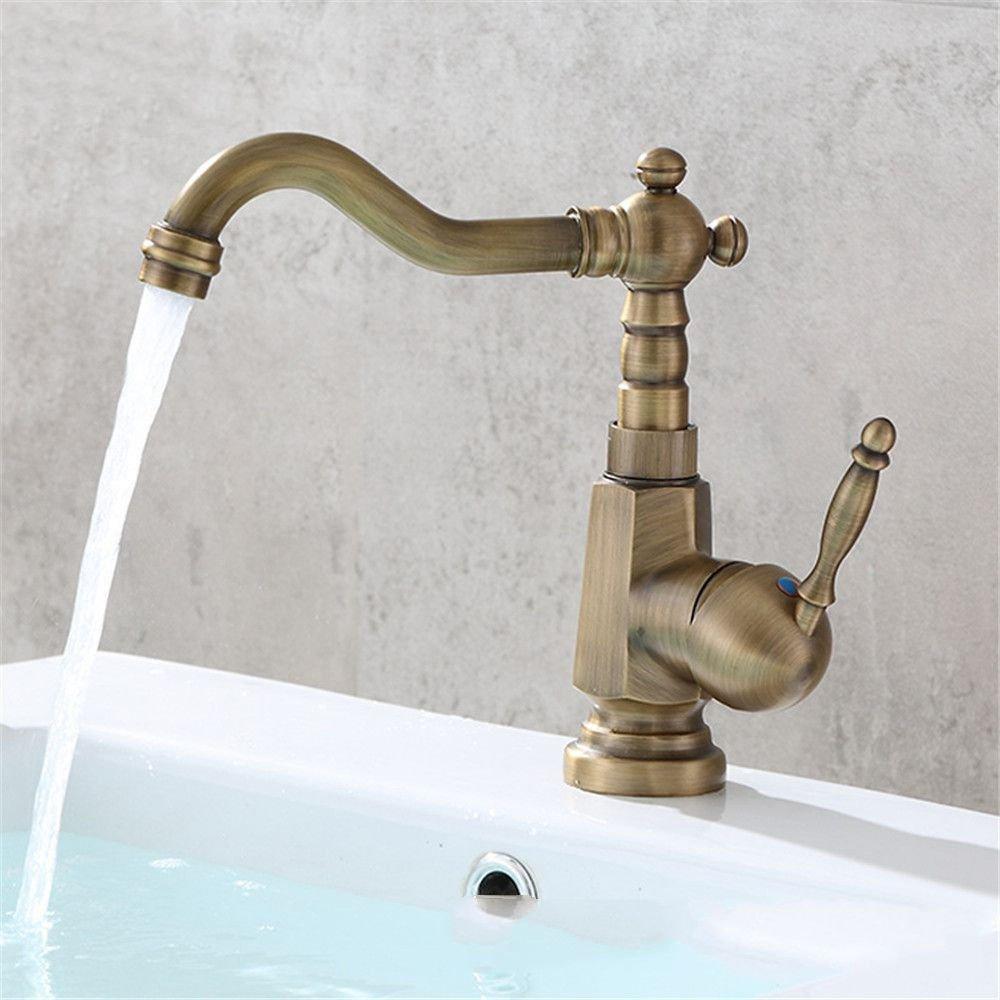AQiMM Wasserhahn Wasserfall Armatur Waschtischarmaturen Messing Antik Warmes Und Kaltes Wasser Mit Einem Hebel 1 Bohrung  Waschbeckenarmatur Für Badezimmer Waschbecken