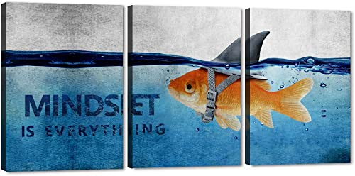 Yatsen Bridge 3 Panels Framed Motivational Wall Art Office Quotes Wall Decor Entrepreneur Canvas Art Inspirational Quotes Posters Ready to Hang for Home Classroom Office Decor – 60 W x 28 H