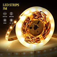 LED Light Strip, infinitoo 5Meter 300 LEDs String Light, 3000K Warm White LED Night Light with Remote Control, Self-Adhesive Fairy Lights for Decoration Party, Kitchen, Christmas