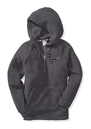 d3f2b84eff045 Victoria's Secret Pink Hooded Sherpa Quarter Zip Cozy Pullover ...