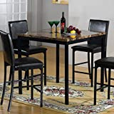 Home Source 12930 38 by 38 by 36-Inch Modern Faux Marble Table and 18 by 20 by 40-Inch 4-Chairs, Dark Brown