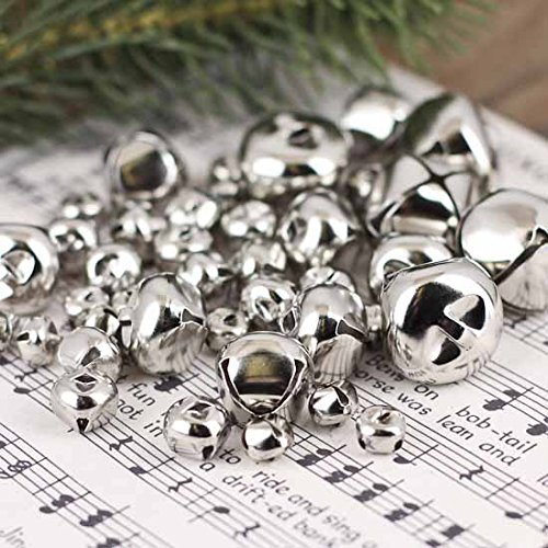 Holiday Accents Bulk Bag of 172 Assorted Metallic Silver Jingle Bells for Crafting, Embellishing and Creating