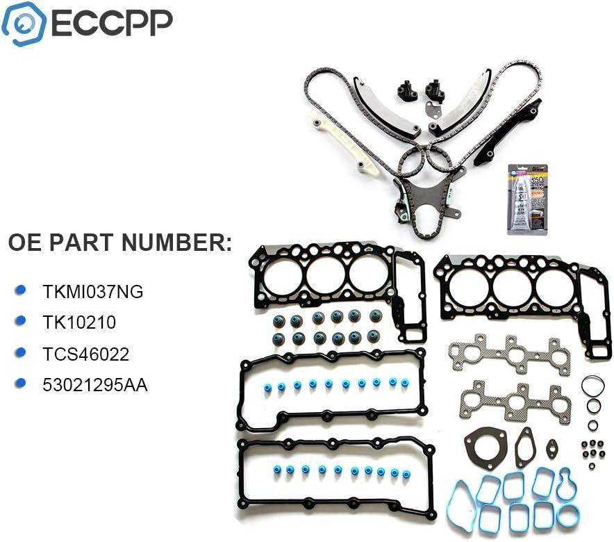ECCPP Timing Chain Cover Gasket Kit fits for 2004-2005 Dodge Dakota Durango Nitro Ram 1500 3.7L TKMI037NG TK10210